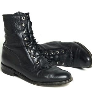 Justin Black Leather Hiram Lace Up Boots